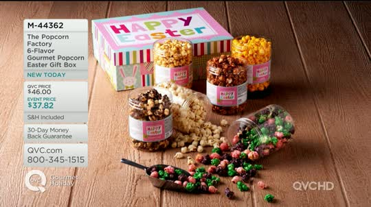 The popcorn factory 6 flavor gourmet popcorn easter gift box qvc on air presentation negle Choice Image