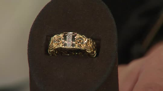 14K Gold Byzantine and Diamond Accent Band Ring Page 1 — QVC