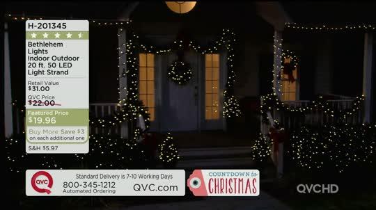 Garden Lights Qvc : Bethlehem lights indoor outdoor ft led light strand qvc