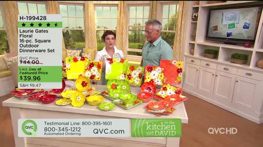 On-Air Presentation & Laurie Gates Floral 16-pc. Square Outdoor Dinnerware Set - Page 1 ...