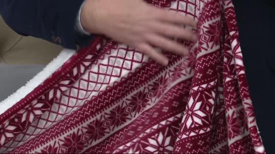 Berkshire Queen Fair Isle Velvet Soft Reverse to Sherpa Blanket ...
