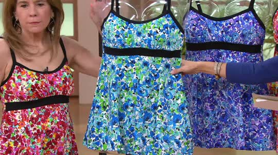 8Ds.540x302 fit 4 u thighs airbrush floral banded empire swim dress page 1,Fit 4 U Swimwear Qvc