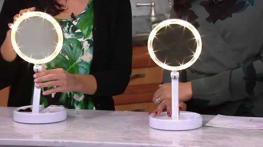 floxite 10x 1x lighted folding vanity travel mirror. Black Bedroom Furniture Sets. Home Design Ideas