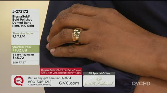 EternaGold Bold Polished Domed Band Ring 14K Gold Page 1 — QVC