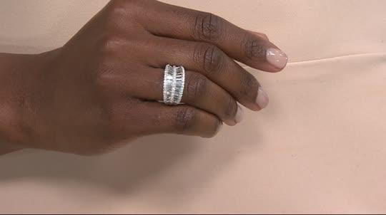 Diamonique Baguette Concave Band Ring Sterling Page 1 — QVC