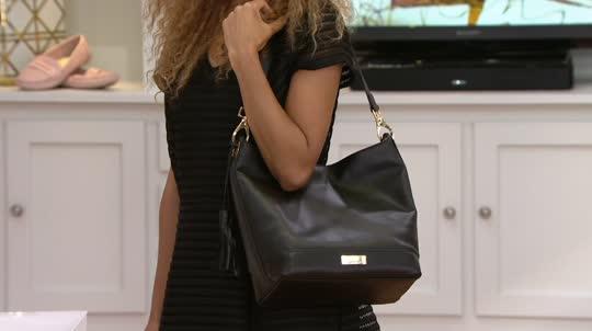 Samantha Brown Luggage Qvc: Isaac Mizrahi Live! Whitney Lamb Leather Hobo Handbag