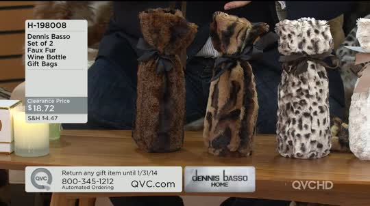 Dennis Basso Set of 2 Faux Fur Wine Bottle Gift Bags - Page 1 — QVC.com b176176f9c