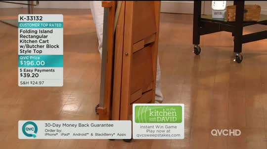 Folding Island Rectangular Kitchen Cart W/Butcher Block