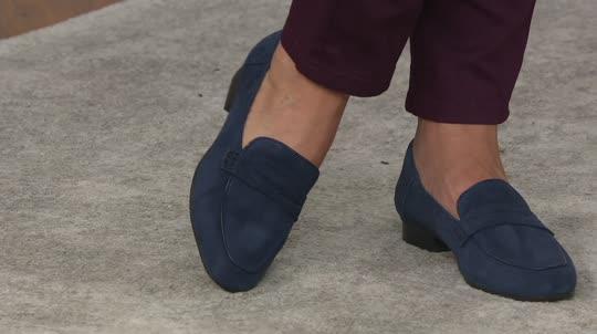 b00864257d9 Clarks Artisan Suede Heeled Loafers - Keesha Cora - Page 1 — QVC.com
