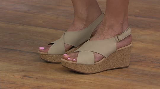 e9d7ca3f4ac Clarks Leather Cork Wedge Sandals - Annadel Eirwyn - Page 1 — QVC.com