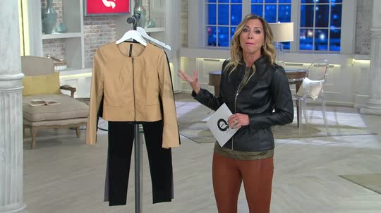 View By Walter Baker Cropped Long Sleeve Faux Leather