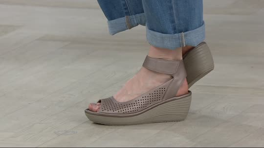 e90b1eb7bb91 Clarks Nubuck Leather Perforated Wedges - Reedly Salene - Page 1 — QVC.com