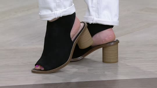 af400f39d Clarks Somerset Suede Peep-toe Stacked Heel Booties - Glacier Charm - Page  1 — QVC.com