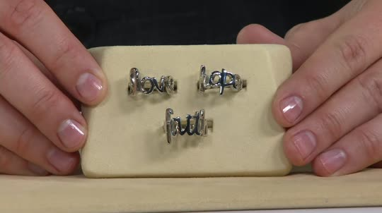 Stainless Steel Love Faith Or Hope Script Design Ring Page 1