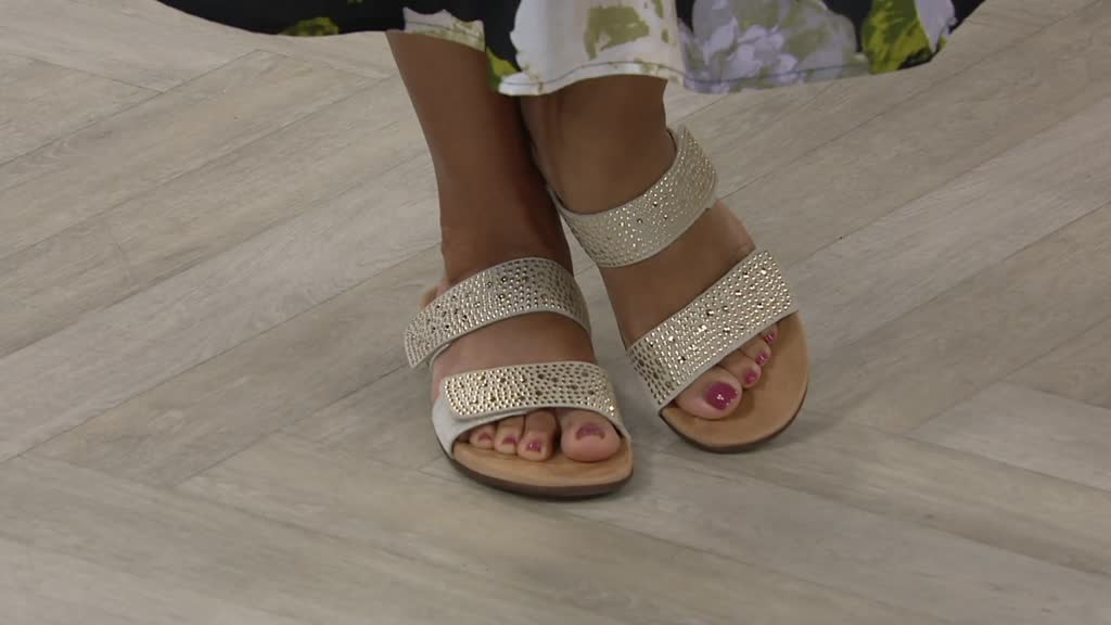 2f19c109e50 Vionic Leather Gored Slide Sandals - Samoa - Page 1 — QVC.com