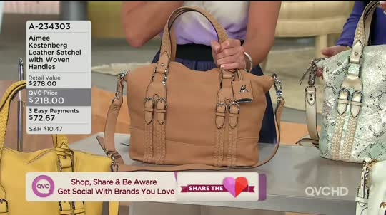 Samantha Brown Luggage Qvc: Aimee Kestenberg Crystal Leather Satchel W/Woven Handles