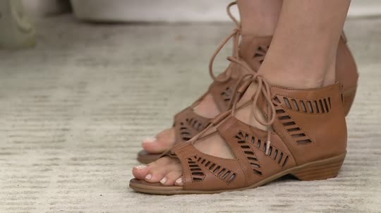 da583d0dec6c3 Comfortiva Lace Up Leather Sandals - Riley - Page 1 — QVC.com