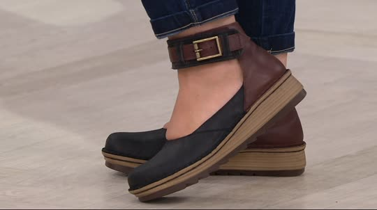 Naot Leather Colorblocked Slip-on Shoes w  Ankle Strap - Sycamore ... 18132e5434d