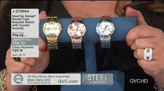 Steel By Design Round Case Bracelet Watch With Crystal Accents